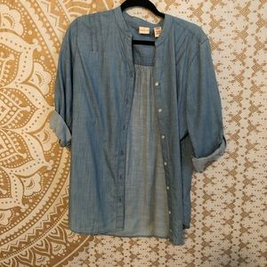 Denim-Like Button Up